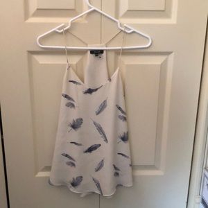 RW & Co tan feather print camisole size xs